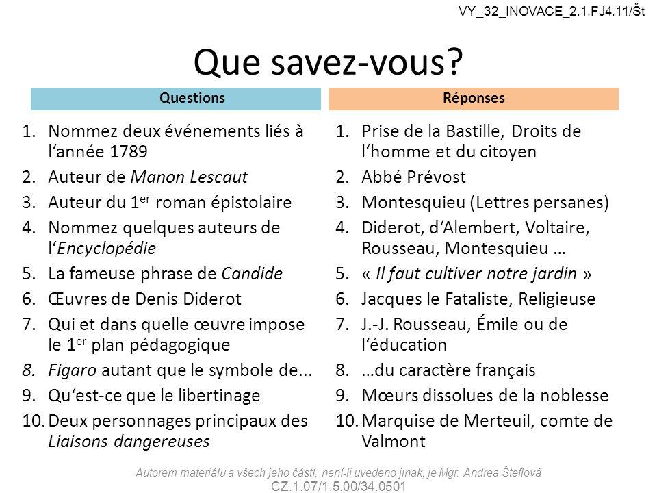 Que savez-vous? Questions 1.Nommez deux événements liés à l'année 1789 2.Auteur de Manon Lescaut 3.Auteur du 1 er roman épistolaire 4.Nommez quelques