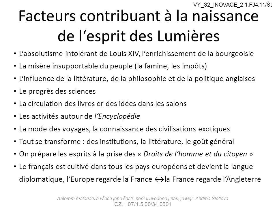 Facteurs contribuant à la naissance de l'esprit des Lumières L'absolutisme intolérant de Louis XIV, l'enrichissement de la bourgeoisie La misère insup