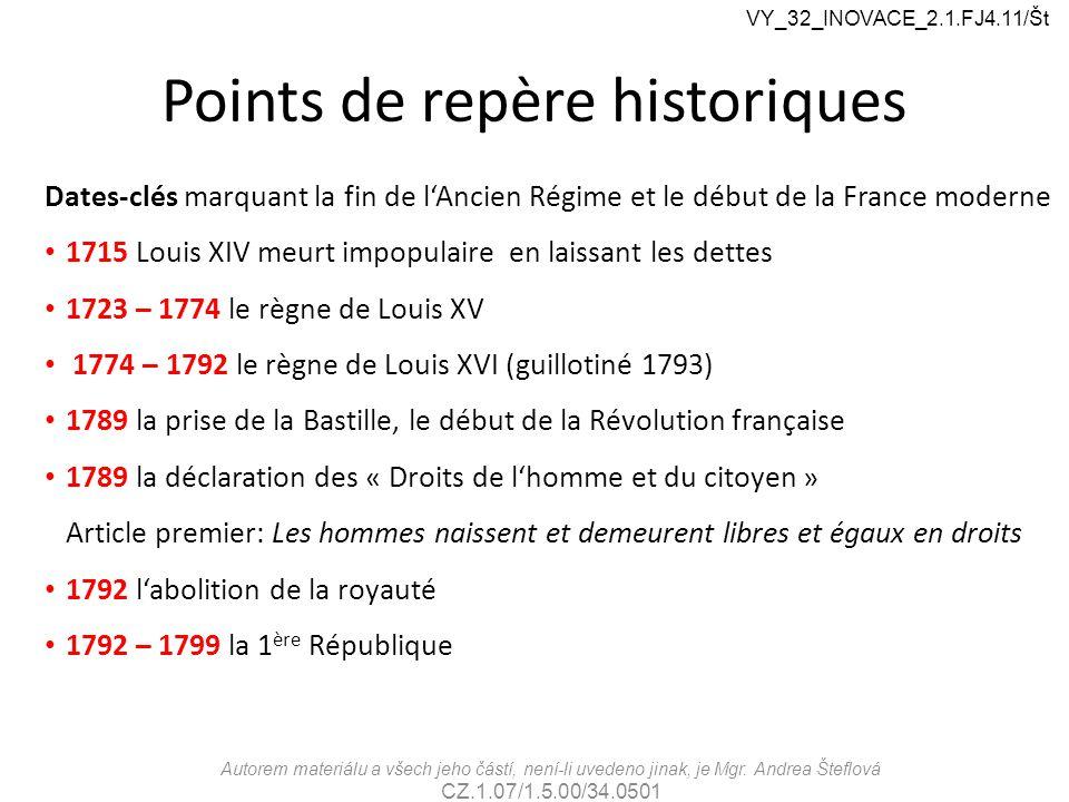 Points de repère historiques Dates-clés marquant la fin de l'Ancien Régime et le début de la France moderne 1715 Louis XIV meurt impopulaire en laissa