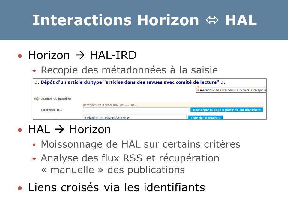 Interactions Horizon  HAL Horizon  HAL-IRD  Recopie des métadonnées à la saisie HAL  Horizon  Moissonnage de HAL sur certains critères  Analys