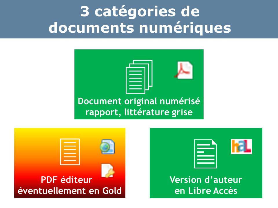  PDF éditeur éventuellement en Gold  Version d'auteur en Libre Accès 3 catégories de documents numériques  Document original numérisé rapport, littérature grise