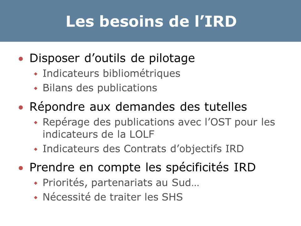 Les besoins de l'IRD Disposer d'outils de pilotage  Indicateurs bibliométriques  Bilans des publications Répondre aux demandes des tutelles  Repé