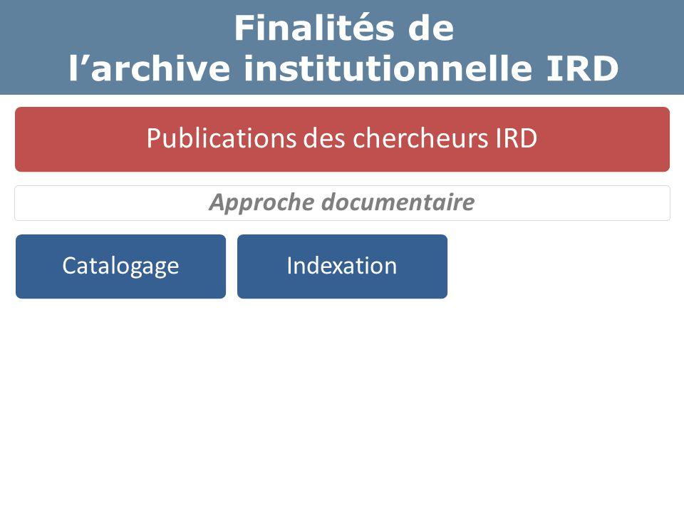 Finalités de l'archive institutionnelle IRD Publications des chercheurs IRD Approche documentaire CatalogageIndexation Texte intégral Libre Accès