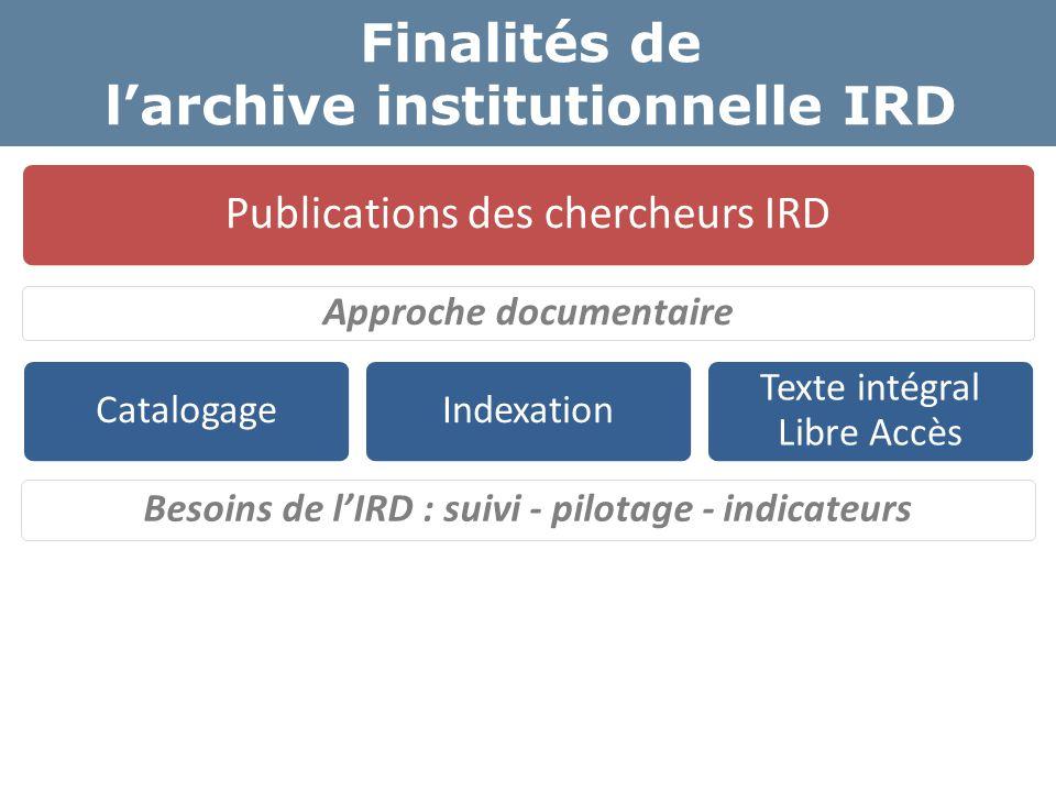 Finalités de l'archive institutionnelle IRD Besoins de l'IRD : suivi - pilotage - indicateurs Organisation Structures de recherche Chercheurs Priorité