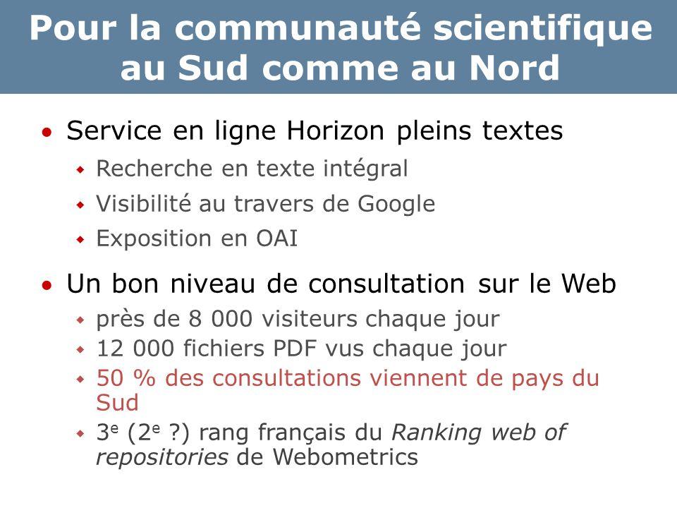 Pour la communauté scientifique au Sud comme au Nord Service en ligne Horizon pleins textes  Recherche en texte intégral  Visibilité au travers de
