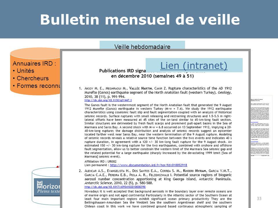 Veille hebdomadaire (recherche de l'IRD et des UMR dans affiliations) Normalisation des affiliations Normalisation des copublications Collecte des fic