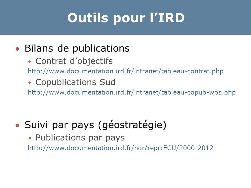 Outils pour l'IRD Bilans de publications  Contrat d'objectifs http://www.documentation.ird.fr/intranet/tableau-contrat.php  Copublications Sud http://www.documentation.ird.fr/intranet/tableau-copub-wos.php Suivi par pays (géostratégie)  Publications par pays http://www.documentation.ird.fr/hor/repr:ECU/2000-2012