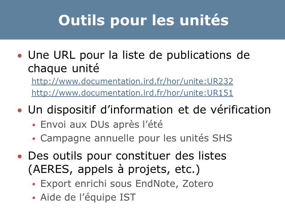 Outils pour les unités Une URL pour la liste de publications de chaque unité http://www.documentation.ird.fr/hor/unite:UR232 http://www.documentation