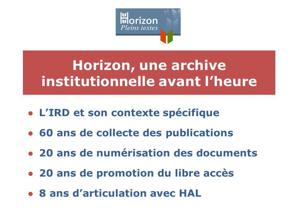 Horizon, une archive institutionnelle avant l'heure ●L'IRD et son contexte spécifique ●60 ans de collecte des publications ●20 ans de numérisation des