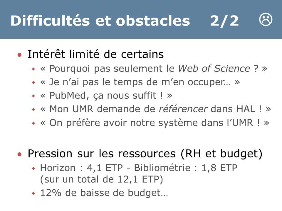 Difficultés et obstacles 2/2  Intérêt limité de certains  « Pourquoi pas seulement le Web of Science .