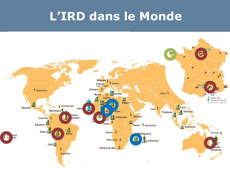 Outils pour les unités Une URL pour la liste de publications de chaque unité http://www.documentation.ird.fr/hor/unite:UR232 http://www.documentation.ird.fr/hor/unite:UR151 Un dispositif d'information et de vérification  Envoi aux DUs après l'été  Campagne annuelle pour les unités SHS Des outils pour constituer des listes (AERES, appels à projets, etc.)  Export enrichi sous EndNote, Zotero  Aide de l'équipe IST