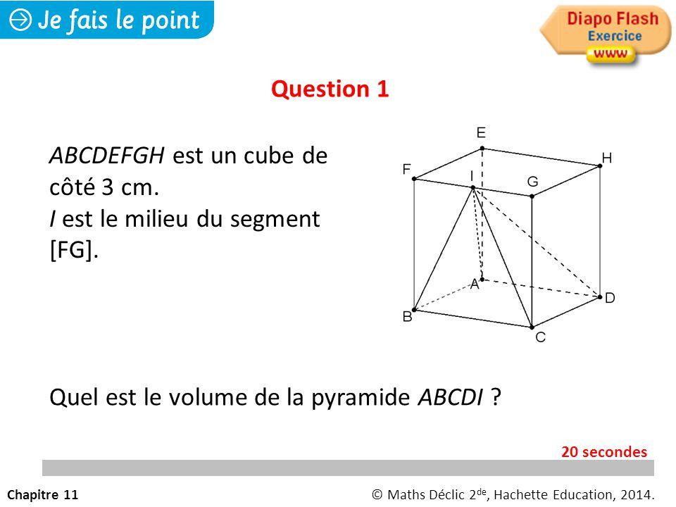 Question 1 Quel est le volume de la pyramide ABCDI .