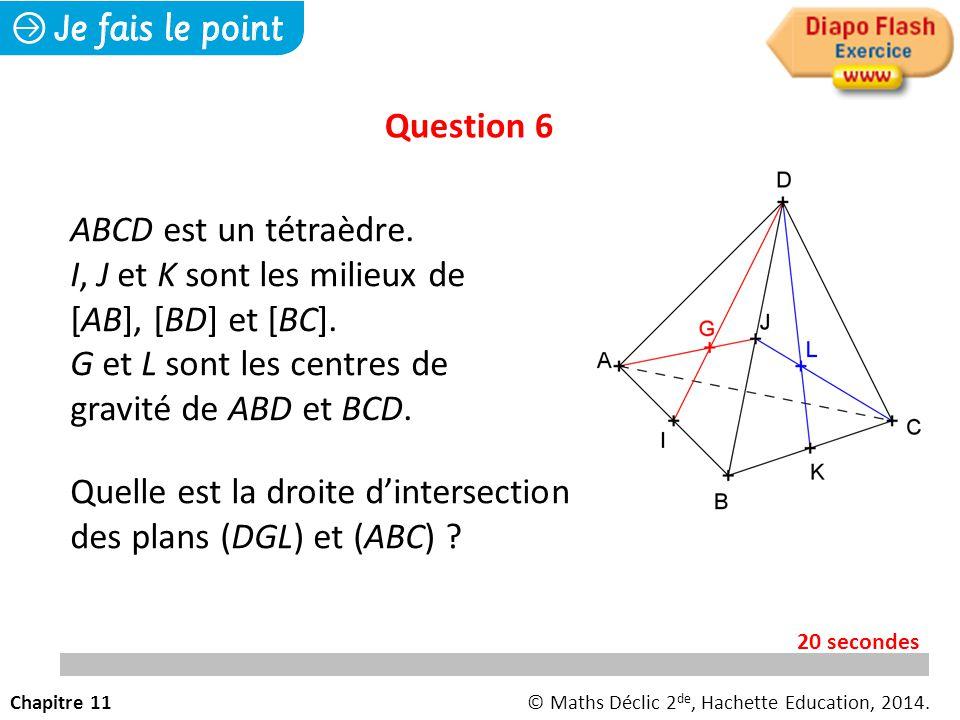 Question 6 Quelle est la droite d'intersection des plans (DGL) et (ABC) .