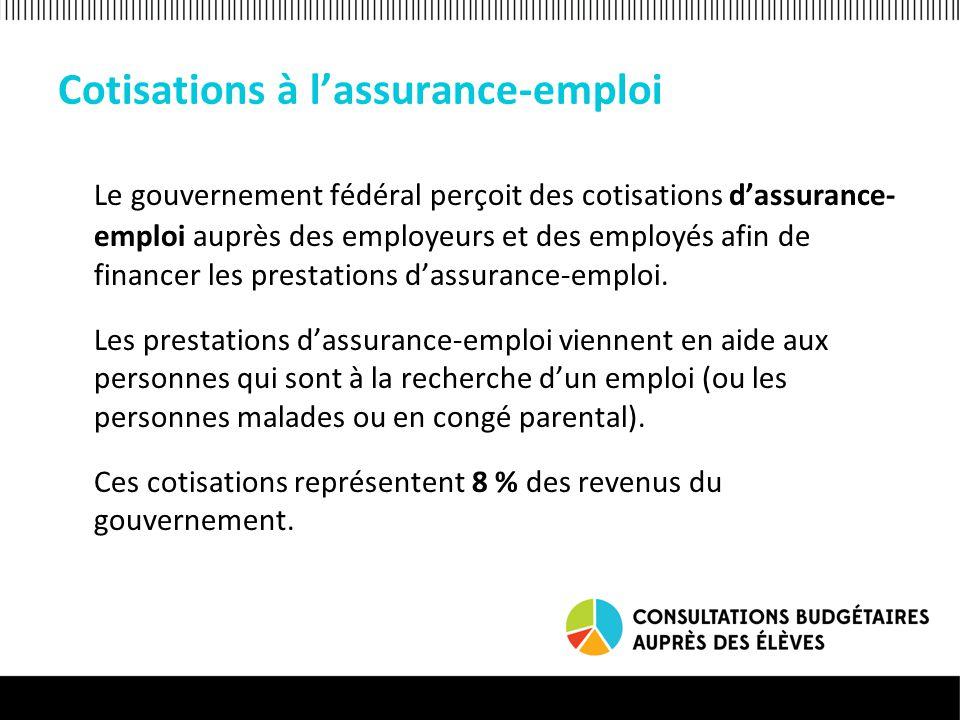 Cotisations à l'assurance-emploi Le gouvernement fédéral perçoit des cotisations d'assurance- emploi auprès des employeurs et des employés afin de fin
