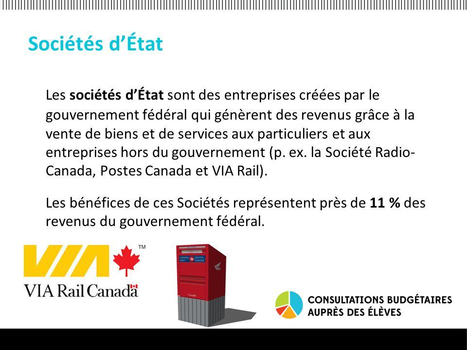 Sociétés d'État Les sociétés d'État sont des entreprises créées par le gouvernement fédéral qui génèrent des revenus grâce à la vente de biens et de services aux particuliers et aux entreprises hors du gouvernement (p.