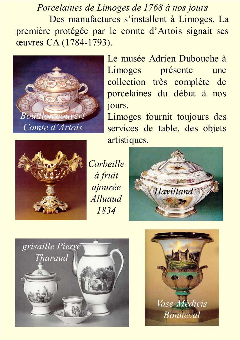 Le musée Adrien Dubouche à Limoges présente une collection très complète de porcelaines du début à nos jours.