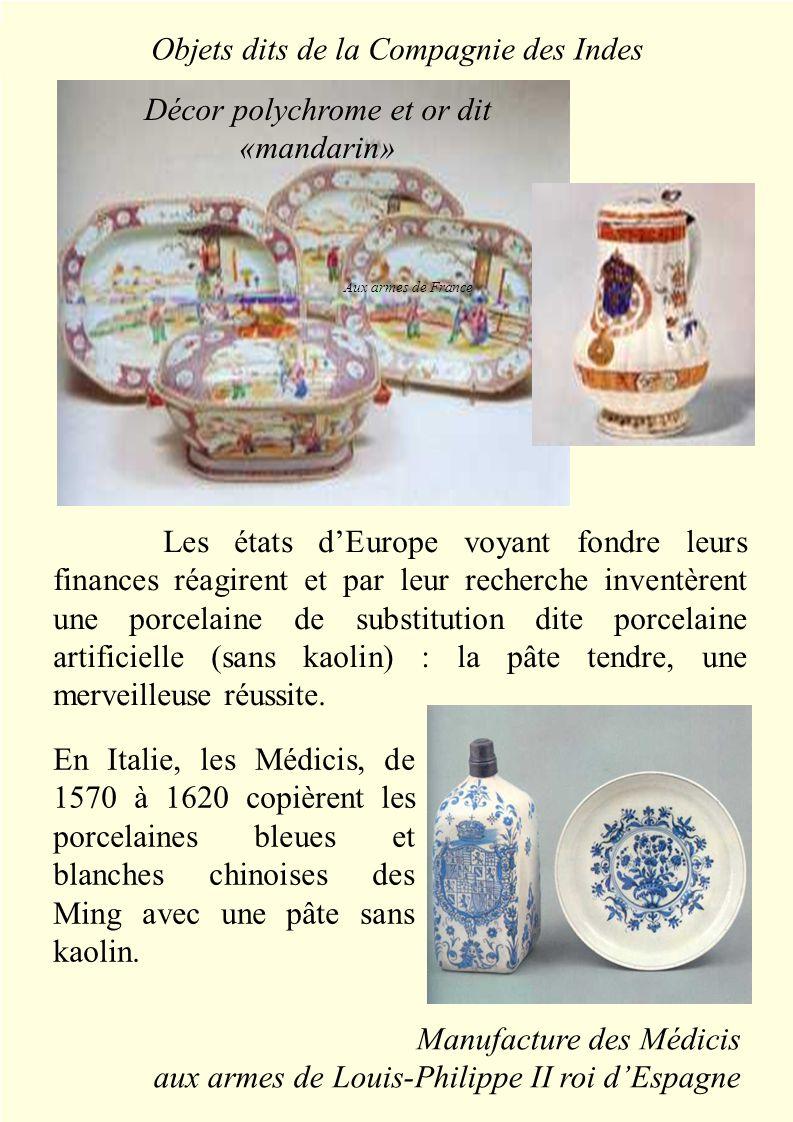 La pâte tendre Les états d'Europe voyant fondre leurs finances réagirent et par leur recherche inventèrent une porcelaine de substitution dite porcelaine artificielle (sans kaolin) : la pâte tendre, une merveilleuse réussite.