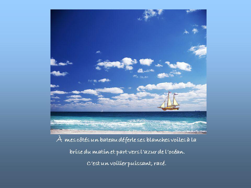 À mes côtés un bateau déferle ses blanches voiles à la brise du matin et part vers l'azur de l'océan.