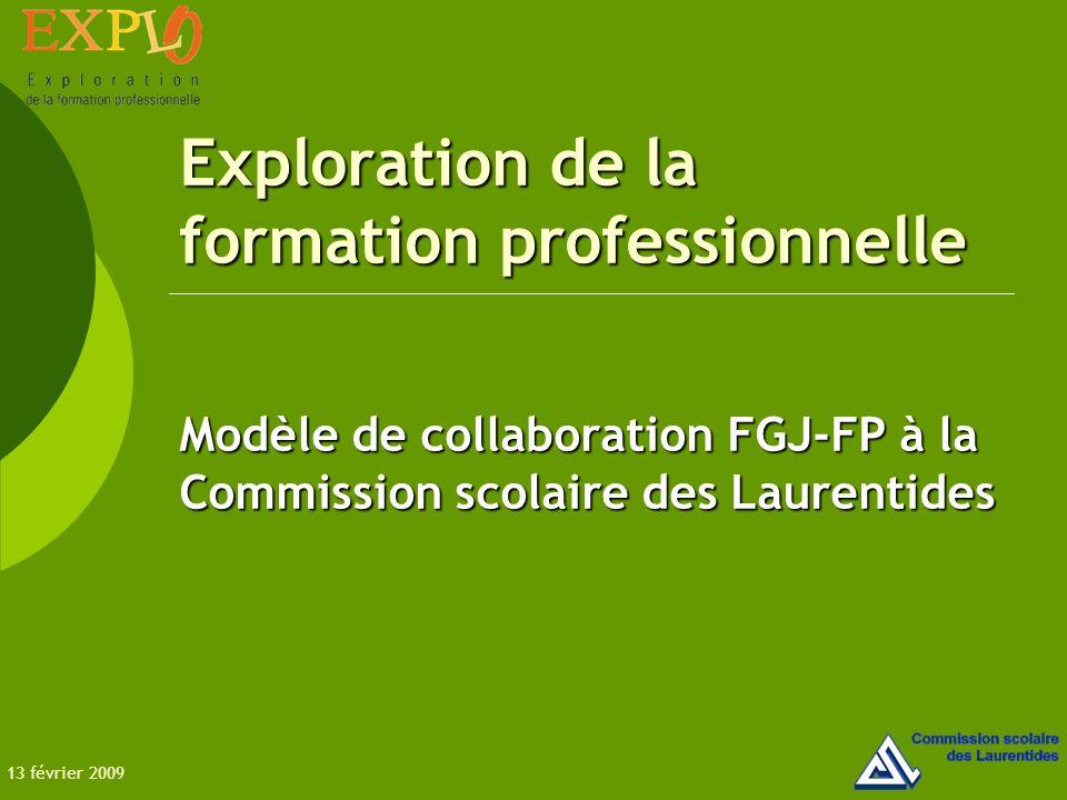 Exploration de la formation professionnelle Modèle de collaboration FGJ-FP à la Commission scolaire des Laurentides 13 février 2009