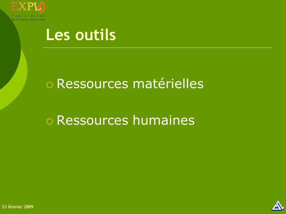 Les outils  Ressources matérielles  Ressources humaines 13 février 2009