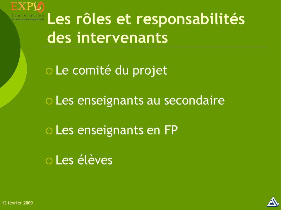 Les rôles et responsabilités des intervenants  Le comité du projet  Les enseignants au secondaire  Les enseignants en FP  Les élèves 13 février 2009