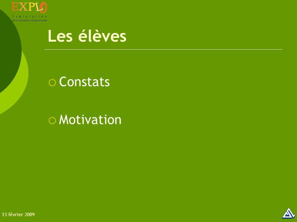 Les élèves  Constats  Motivation 13 février 2009