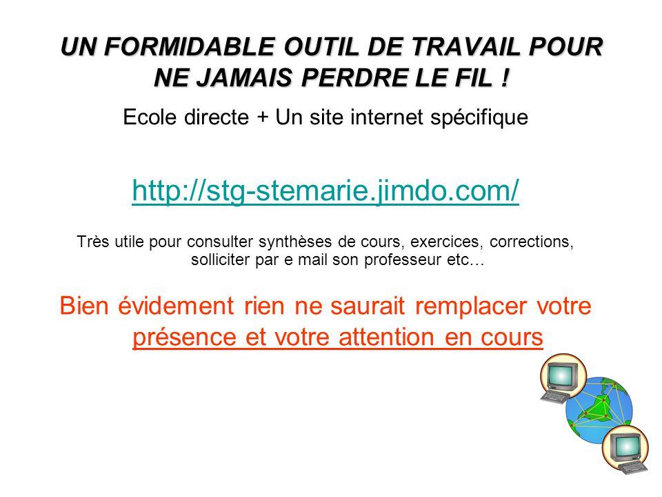 14 UN FORMIDABLE OUTIL DE TRAVAIL POUR NE JAMAIS PERDRE LE FIL ! Ecole directe + Un site internet spécifique http://stg-stemarie.jimdo.com/ Très utile