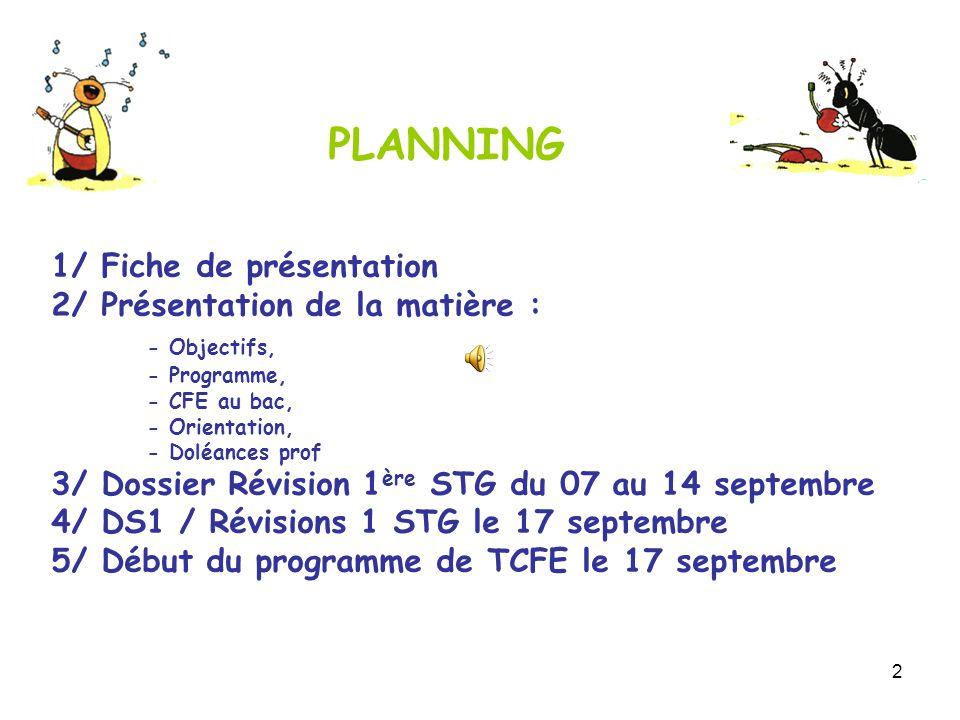 2 1/ Fiche de présentation 2/ Présentation de la matière : - Objectifs, - Programme, - CFE au bac, - Orientation, - Doléances prof 3/ Dossier Révision