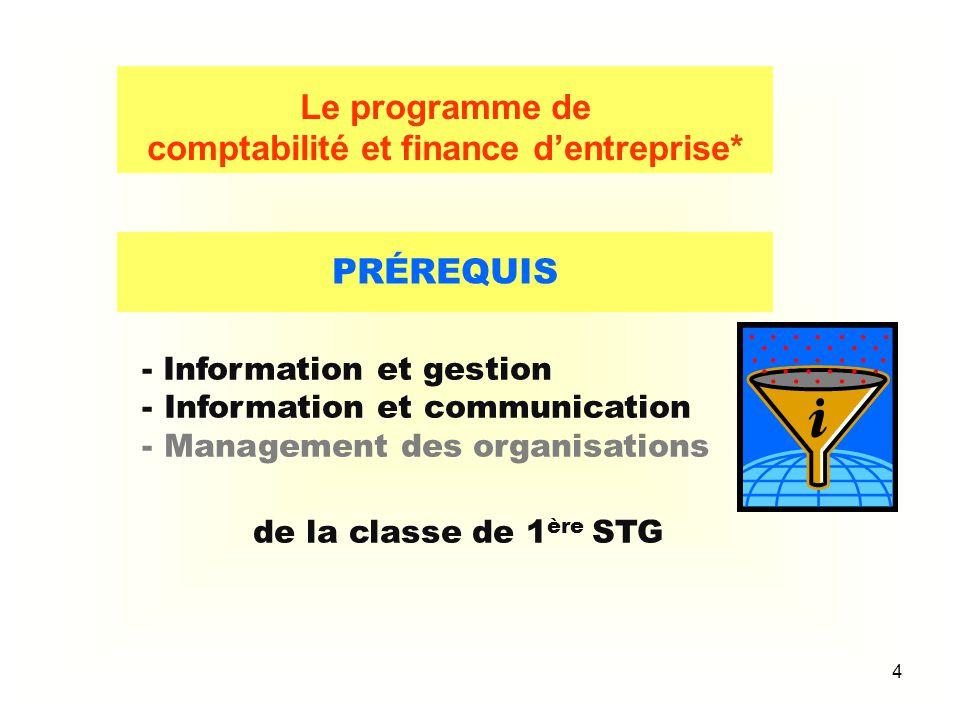 4 PRÉREQUIS - Information et gestion - Information et communication - Management des organisations de la classe de 1 ère STG Le programme de comptabil