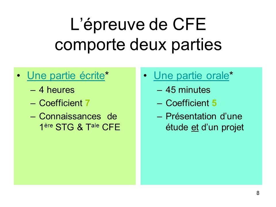 8 L'épreuve de CFE comporte deux parties Une partie écrite*Une partie écrite –4 heures –Coefficient 7 –Connaissances de 1 ère STG & T ale CFE Une part