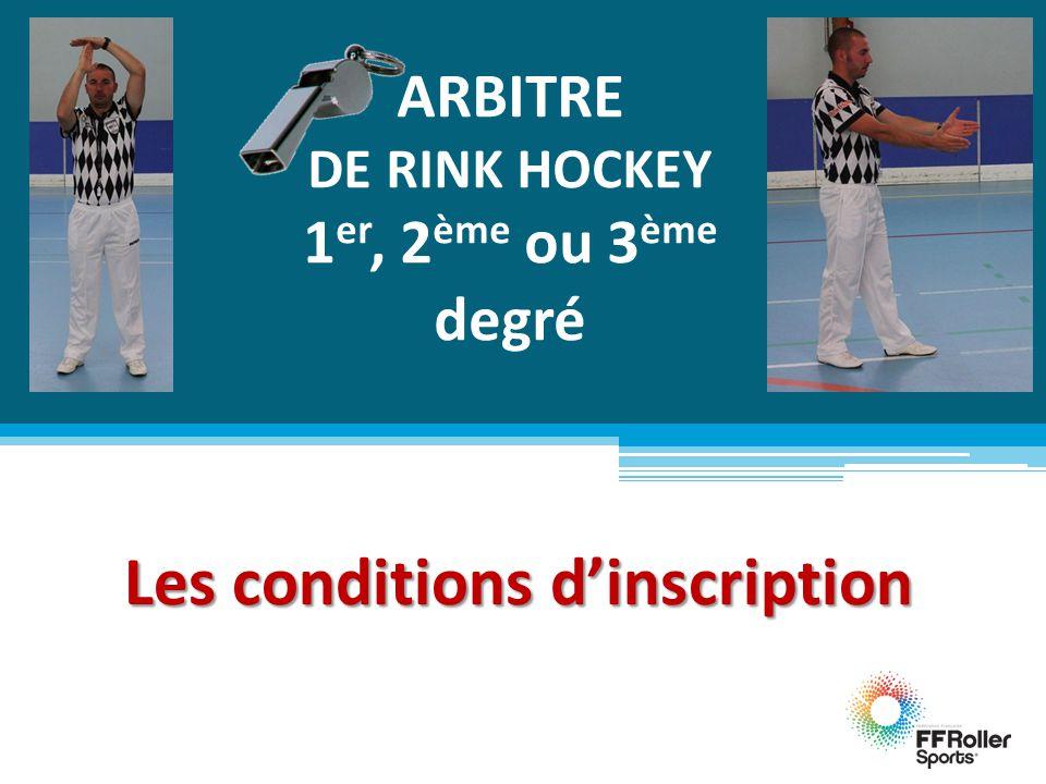 ARBITRE DE RINK HOCKEY 1 er, 2 ème ou 3 ème degré Les conditions d'inscription