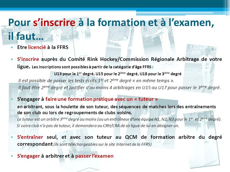 Pour s'inscrire à la formation et à l'examen, il faut… Etre licencié à la FFRS S'inscrire auprès du Comité Rink Hockey/Commission Régionale Arbitrage