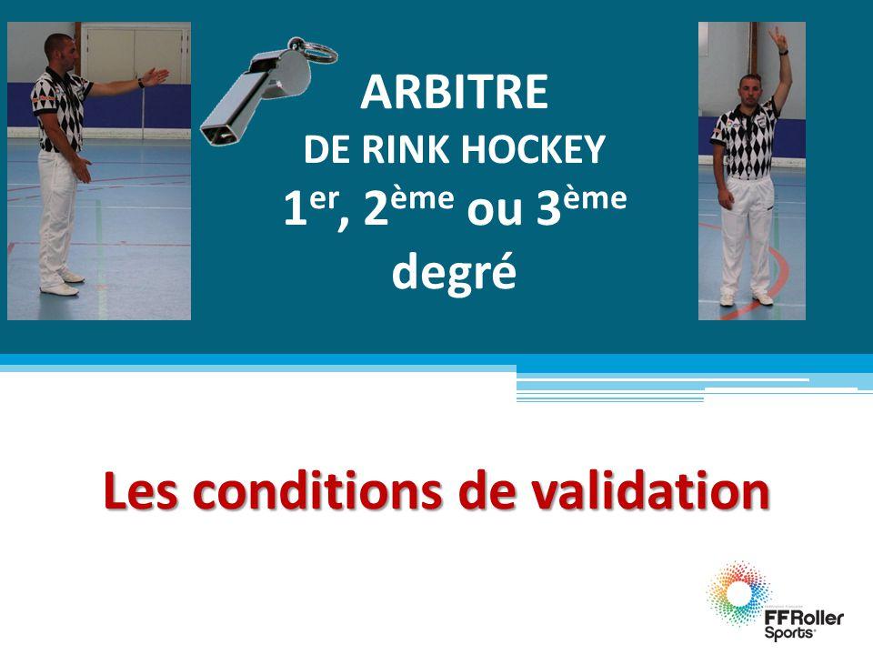 ARBITRE DE RINK HOCKEY 1 er, 2 ème ou 3 ème degré Les conditions de validation