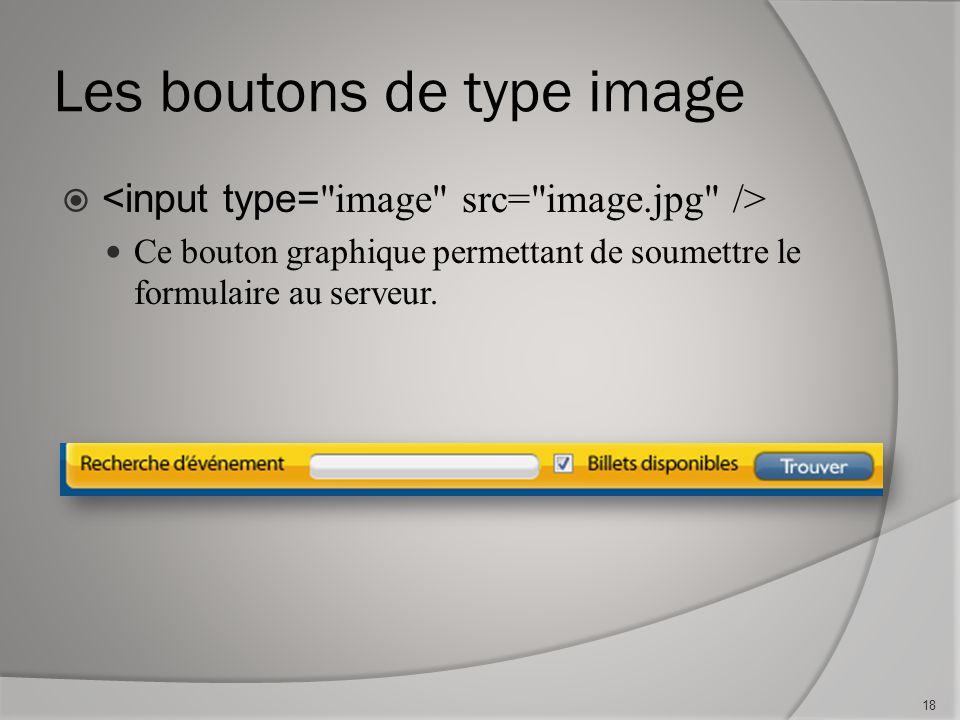 Les boutons de type image  Ce bouton graphique permettant de soumettre le formulaire au serveur.