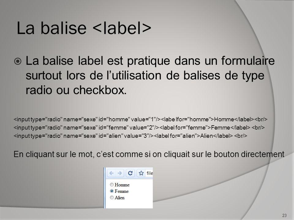La balise  La balise label est pratique dans un formulaire surtout lors de l'utilisation de balises de type radio ou checkbox.