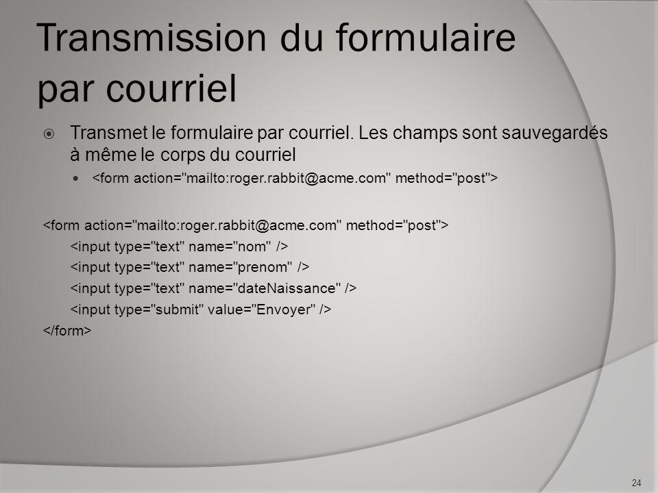 Transmission du formulaire par courriel  Transmet le formulaire par courriel.