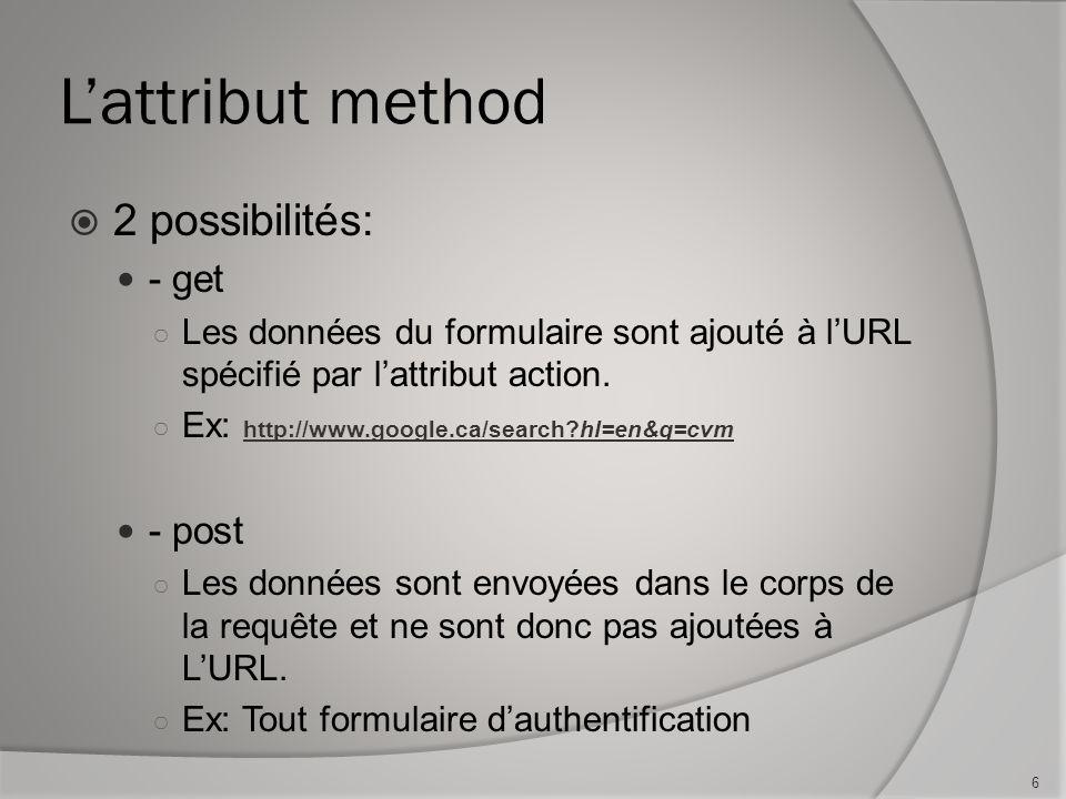 L'attribut method  2 possibilités: - get ○ Les données du formulaire sont ajouté à l'URL spécifié par l'attribut action.