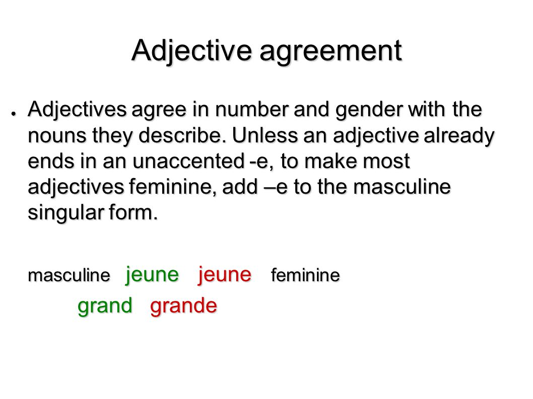 Adjective agreement ● To form the feminine of adjectives ending in – eux or –if, make the following spelling changes before adding –e.