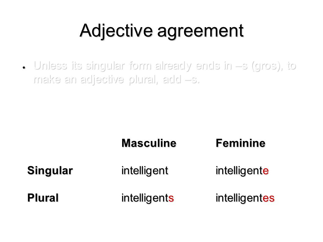 Adjective agreement ● Unless its singular form already ends in –s (gros), to make an adjective plural, add –s.