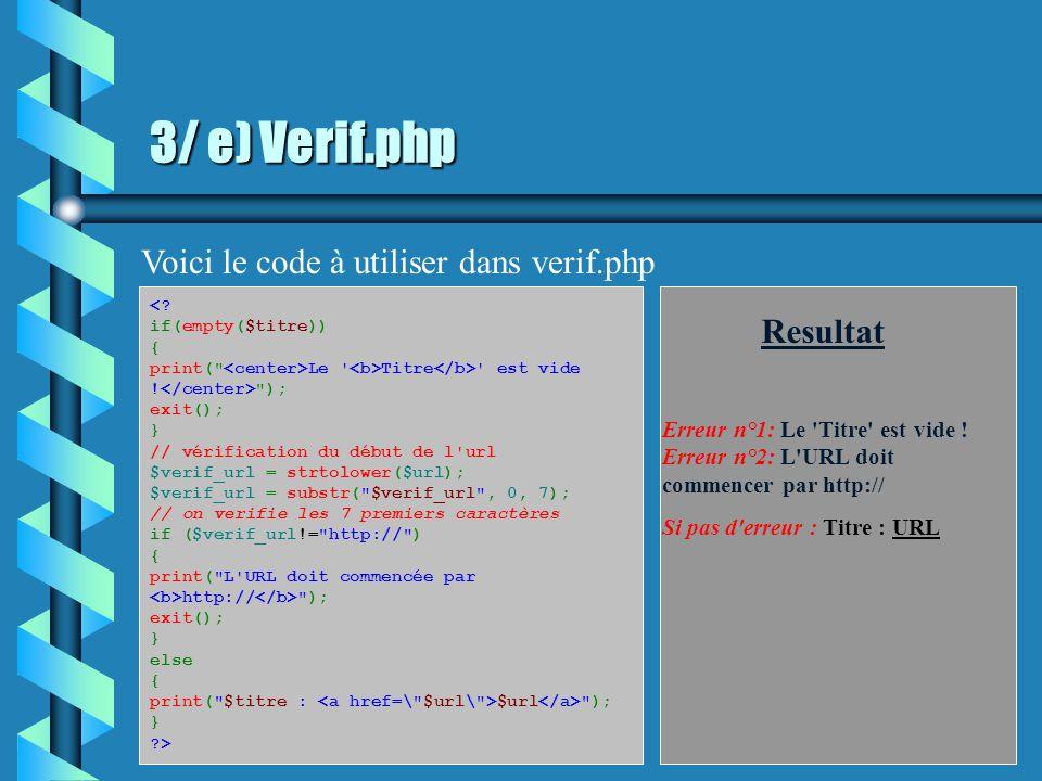 3/ d) Verifier les variables Un autre exemple Titre: URL: