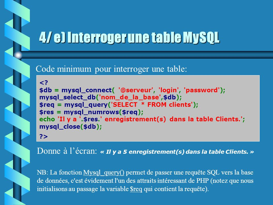 4/ d) Les champs de la table CREATE TABLE clients (id INT not null AUTO_INCREMENT, prenom VARCHAR (50) not null, nom VARCHAR (50) not null, ne_le DATE