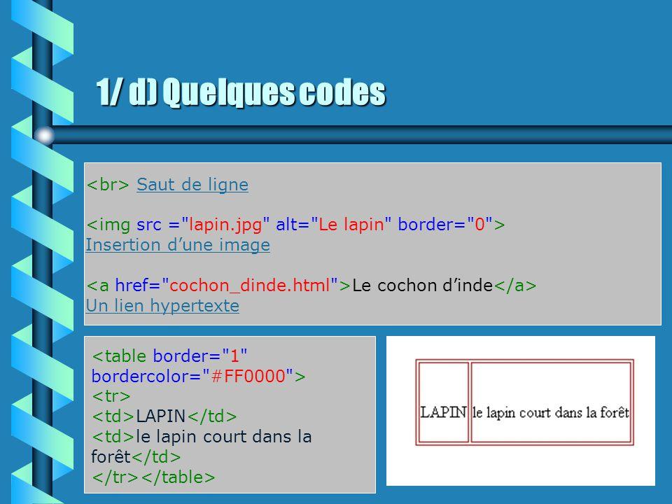 1/ c) Les premiers codes