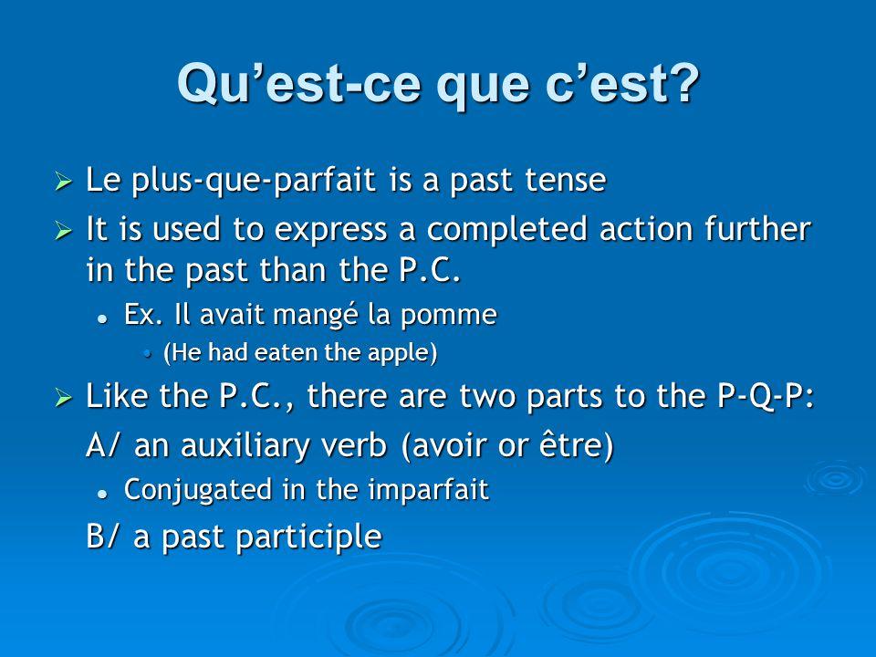 Qu'est-ce que c'est?  Le plus-que-parfait is a past tense  It is used to express a completed action further in the past than the P.C. Ex. Il avait m
