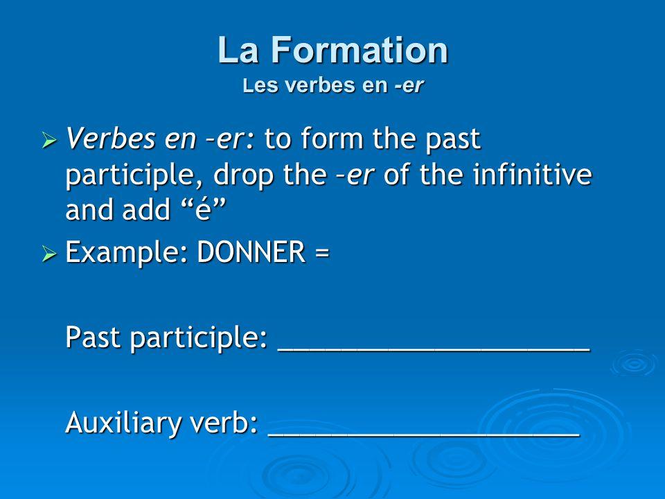 Donner  Donner = to give  Past Participle = donné  Auxiliary Verb = avoir Conjugate the verb donner in the plus-que-parfait!