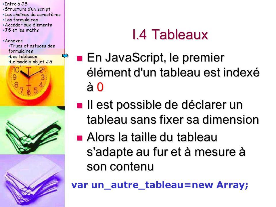 Intro à JS Intro à JS Structure d'un script Structure d'un script Les chaînes de caractères Les chaînes de caractères Les formulaires Les formulaires Accéder aux éléments Accéder aux éléments JS et les maths JS et les maths Annexes Annexes Trucs et astuces des formulaires Trucs et astuces des formulaires Les tableaux Les tableaux Le modèle objet JS Le modèle objet JS I.4 Tableaux En JavaScript, le premier élément d un tableau est indexé à 0 En JavaScript, le premier élément d un tableau est indexé à 0 Il est possible de déclarer un tableau sans fixer sa dimension Il est possible de déclarer un tableau sans fixer sa dimension Alors la taille du tableau s adapte au fur et à mesure à son contenu Alors la taille du tableau s adapte au fur et à mesure à son contenu var un_autre_tableau=new Array;