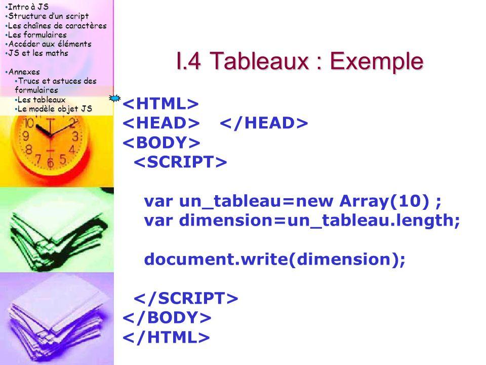 Intro à JS Intro à JS Structure d'un script Structure d'un script Les chaînes de caractères Les chaînes de caractères Les formulaires Les formulaires Accéder aux éléments Accéder aux éléments JS et les maths JS et les maths Annexes Annexes Trucs et astuces des formulaires Trucs et astuces des formulaires Les tableaux Les tableaux Le modèle objet JS Le modèle objet JS I.4 Tableaux : Exemple var un_tableau=new Array(10) ; var dimension=un_tableau.length; document.write(dimension);