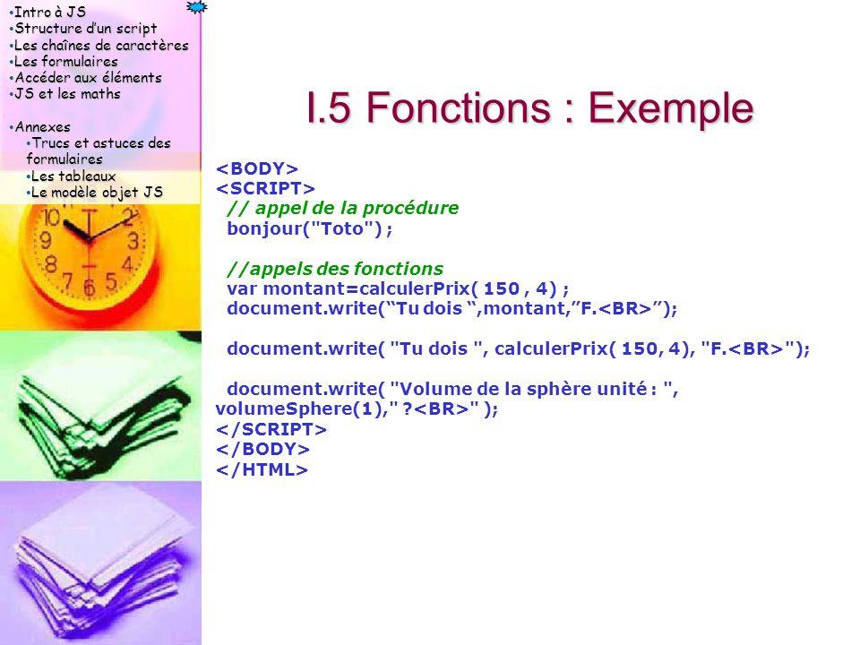 Intro à JS Intro à JS Structure d'un script Structure d'un script Les chaînes de caractères Les chaînes de caractères Les formulaires Les formulaires Accéder aux éléments Accéder aux éléments JS et les maths JS et les maths Annexes Annexes Trucs et astuces des formulaires Trucs et astuces des formulaires Les tableaux Les tableaux Le modèle objet JS Le modèle objet JS I.5 Fonctions : Exemple // appel de la procédure bonjour( Toto ) ; //appels des fonctions var montant=calculerPrix( 150, 4) ; document.write( Tu dois ,montant, F.