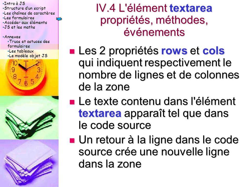 Intro à JS Intro à JS Structure d'un script Structure d'un script Les chaînes de caractères Les chaînes de caractères Les formulaires Les formulaires Accéder aux éléments Accéder aux éléments JS et les maths JS et les maths Annexes Annexes Trucs et astuces des formulaires Trucs et astuces des formulaires Les tableaux Les tableaux Le modèle objet JS Le modèle objet JS IV.4 L élément textarea propriétés, méthodes, événements Les 2 propriétés rows et cols qui indiquent respectivement le nombre de lignes et de colonnes de la zone Les 2 propriétés rows et cols qui indiquent respectivement le nombre de lignes et de colonnes de la zone Le texte contenu dans l élément textarea apparaît tel que dans le code source Le texte contenu dans l élément textarea apparaît tel que dans le code source Un retour à la ligne dans le code source crée une nouvelle ligne dans la zone Un retour à la ligne dans le code source crée une nouvelle ligne dans la zone