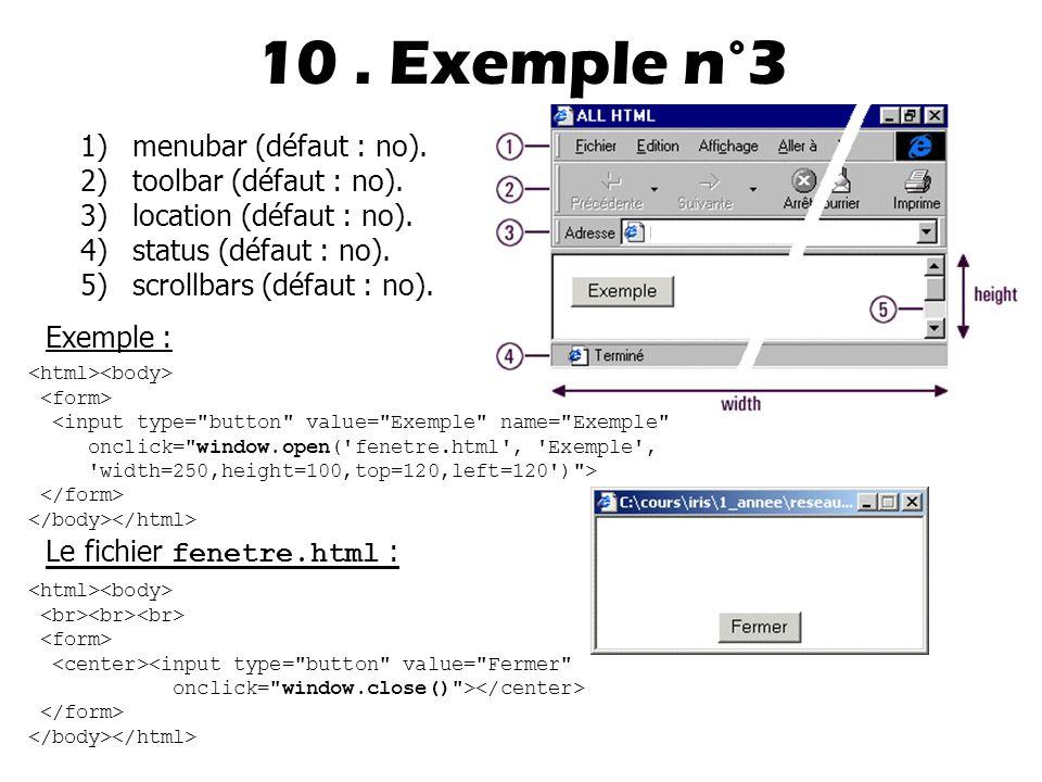 10.Exemple n°3 1)menubar (défaut : no). 2)toolbar (défaut : no).