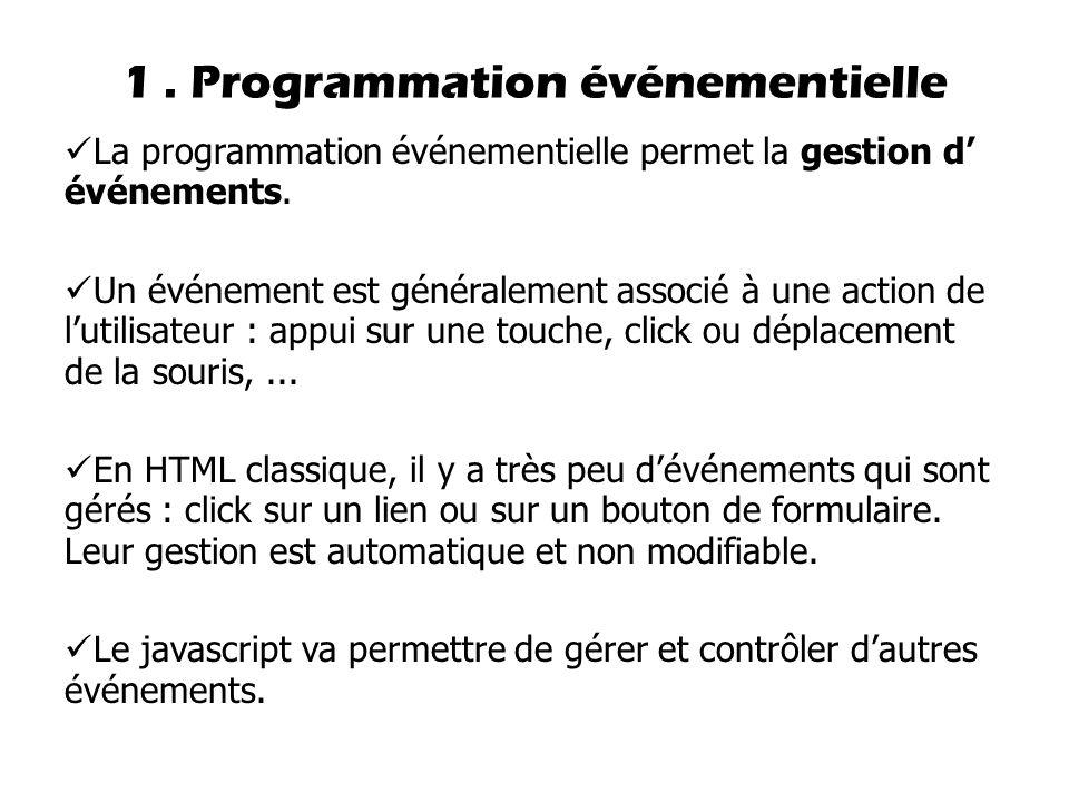 1.Programmation événementielle La programmation événementielle permet la gestion d' événements.